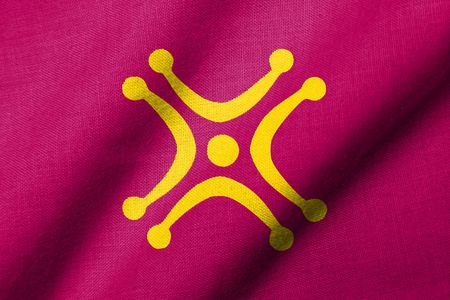 Realistic 3D flag of Cantabria, with Labaron symbol and fabric texture, waving.