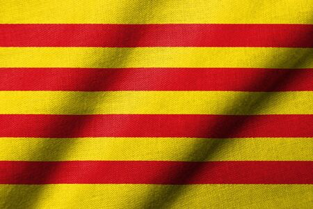 Realistic 3D flag of Catalonia with fabric texture waving.