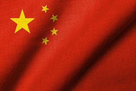Realistische 3D Flagge der Volksrepublik China mit Stoff Textur winken.  Standard-Bild - 6684367