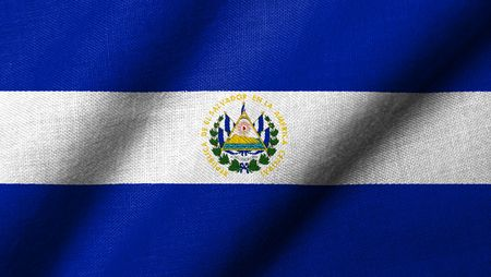 Realistic 3D flag of El Salvador with fabric texture waving. Stock Photo