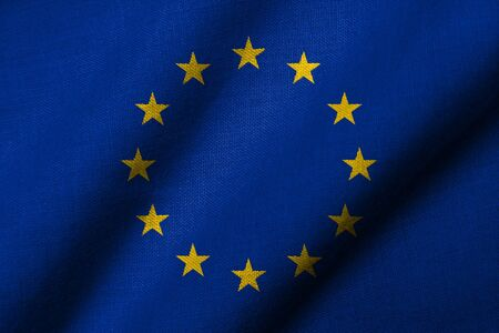 Realistic 3D flag of European Union with fabric texture waving. Stock Photo