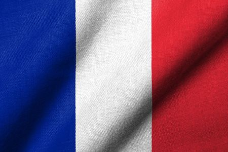 Realistic 3D flag of France with fabric texture waving. Stock Photo - 6684349