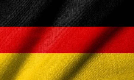Realistic 3D flag of Germany with fabric texture waving.