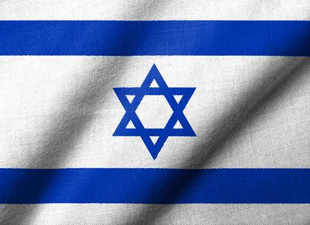 Realistic 3D flag of Israel with fabric texture waving. Standard-Bild