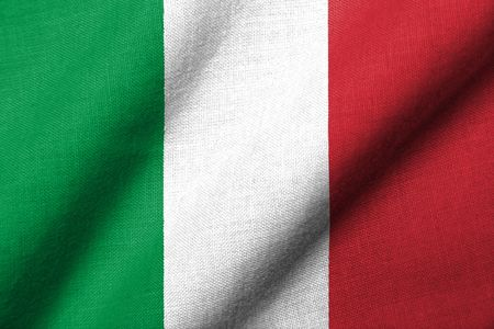 Realistic 3D flag of Italy with fabric texture waving.
