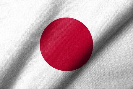 Realistic 3D flag of Japan with fabric texture waving.