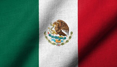Realistic 3D flag of Mexico with fabric texture waving. Stock Photo