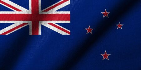 Realistic 3D flag of New Zealand with fabric texture waving. Stock Photo