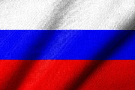 Realistic 3D flag of Russia with fabric texture waving.