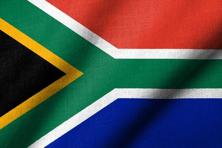 Realistic 3D flag of South Africa with fabric texture waving. Stock Photo