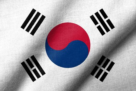 Realistic 3D flag of South Korea with fabric texture waving. Standard-Bild