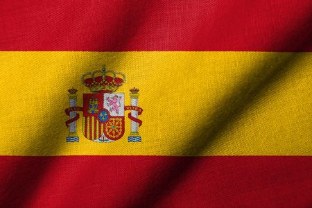 Realistic 3D flag of Spain with fabric texture waving. Stock Photo