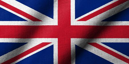 Realistic 3D flag of UK with fabric texture waving. photo