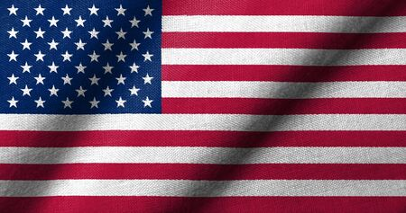 thirteen: Realistic 3D flag of USA with fabric texture waving. Stock Photo
