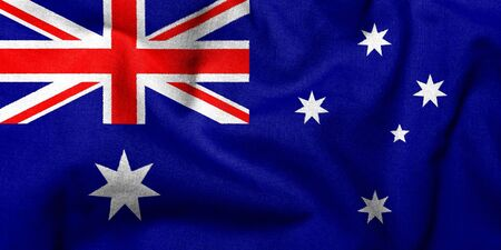 Realistic 3D flag of Australia with fabric texture. Stock Photo - 6790131