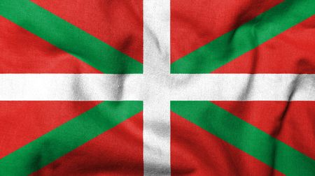 Realistic 3D flag of Basque Country with fabric texture.