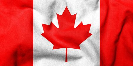 Realistic 3D flag of Canada with fabric texture.