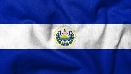 Realistic 3D flag of El Salvador with fabric texture. photo