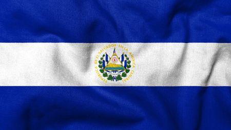 el salvador flag: Realistic 3D flag of El Salvador with fabric texture.