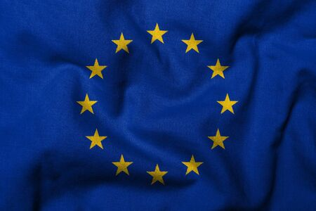 Realistic 3D flag of European Union with fabric texture. Stock Photo