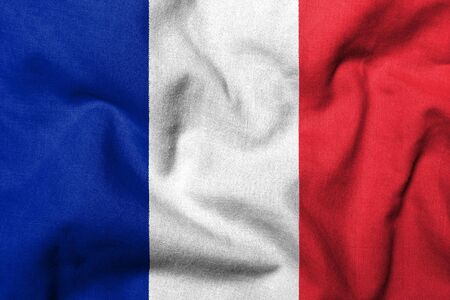 Realistic 3D flag of France with fabric texture.
