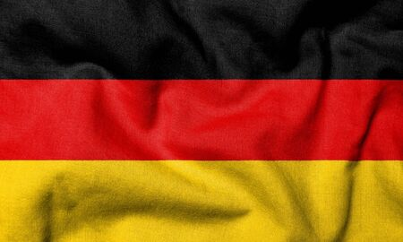 Realistic 3D flag of Germany with fabric texture.