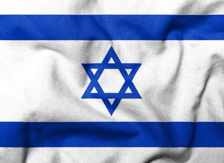 Realistic 3D flag of Israel with fabric texture.