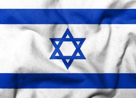 Realistische 3D Fahne Israels mit Fabric Texture. Standard-Bild - 6790152