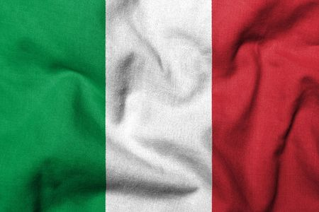 Realistic 3D flag of Italy with fabric texture. Standard-Bild