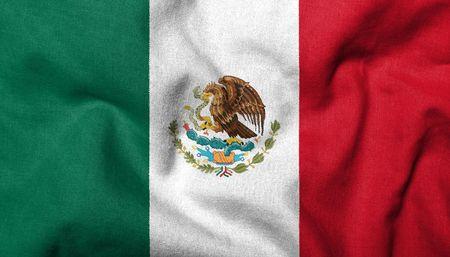 drapeau mexicain: Indicateur 3D r�alistes du Mexique avec texture de tissu.  Banque d'images