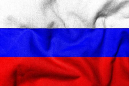 Realistic 3D flag of Russia with fabric texture. Standard-Bild