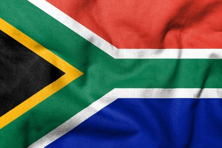 Realistic 3D flag of South Africa with fabric texture. Stock Photo