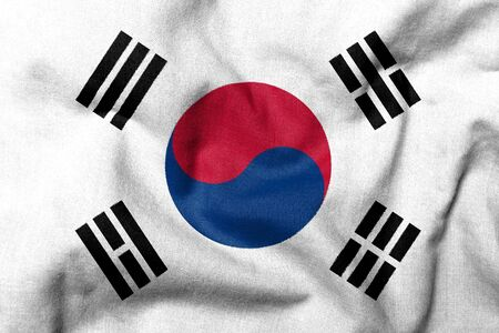 Realistic 3D flag of South Korea with fabric texture. photo