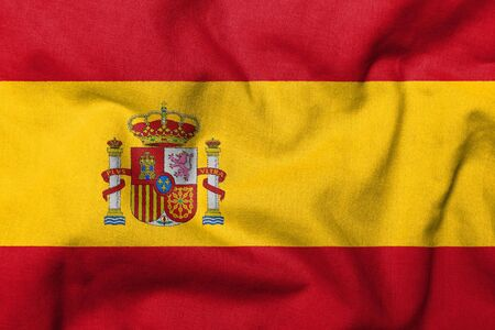 Realistic 3D flag of Spain with fabric texture. Standard-Bild