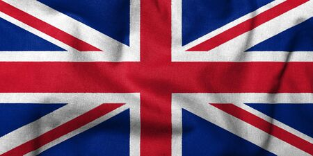 Realistic 3D flag of UK with fabric texture.