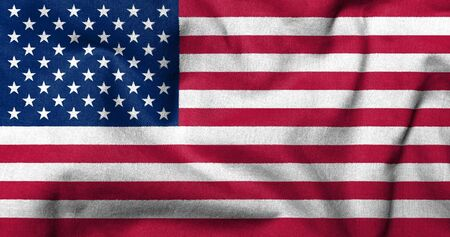 Realistic 3D flag of USA with fabric texture.
