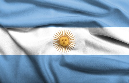 Realistic 3D flag of Argentina with satin fabric texture. photo