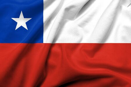 Realistic 3D flag of Chile with satin fabric texture. Stock Photo
