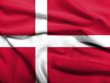 Realistic 3D flag of Denmark with satin fabric texture.