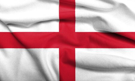 Realistic 3D flag of England with satin fabric texture. Stock Photo