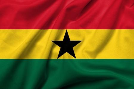 Realistische 3D Fahne Ghanas mit satin Fabric-Textur.  Standard-Bild - 7024830