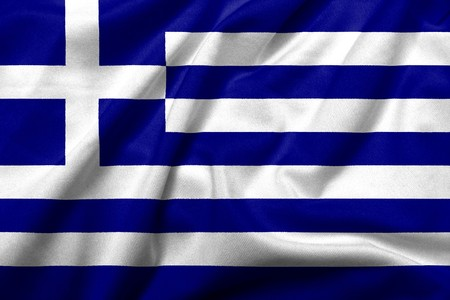 Realistic 3D flag of Greece with satin fabric texture.