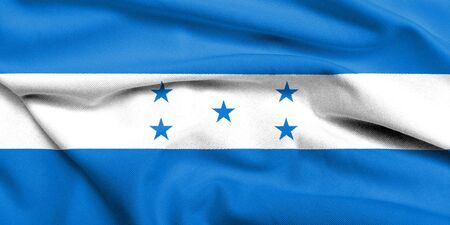 Realistic 3D flag of Honduras with satin fabric texture.