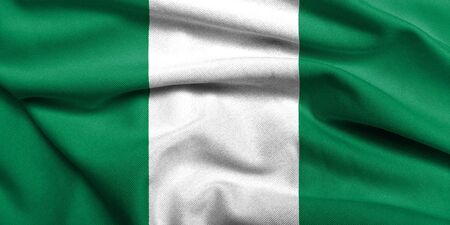 Realistic 3D flag of Nigeria with satin fabric texture.