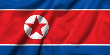 Realistic 3D flag of North Korea with satin fabric texture.