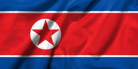 Realistische 3D Flagge Nordkoreas mit satin Fabric-Textur.  Standard-Bild - 7024802