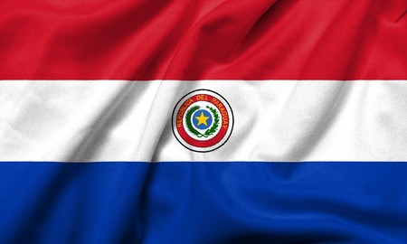 Realistic 3D flag of Paraguay with satin fabric texture. Standard-Bild