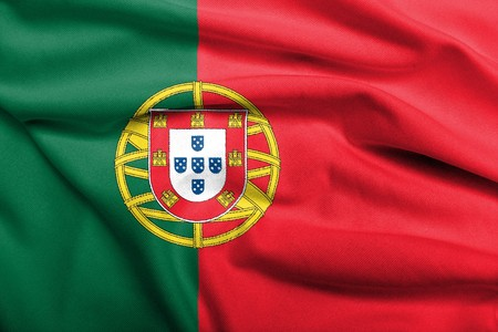 portuguese: Realistic 3D flag of Portugal with satin fabric texture.