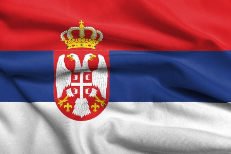 Realistic 3D flag of Serbia with satin fabric texture.