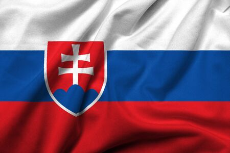 Realistic 3D flag of Slovakia with satin fabric texture. Standard-Bild